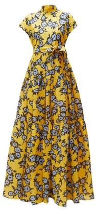 Carolina Herrera Floral Print Gathered Silk Gazar Gown - Womens - Yellow Multi