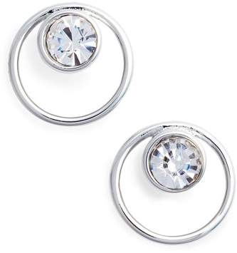 Open Circle Stone Stud Earrings