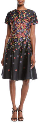 Rickie Freeman For Teri Jon Short-Sleeve Floral-Print Jacquard Fit-and-Flare Knee-Length Cocktail Dress