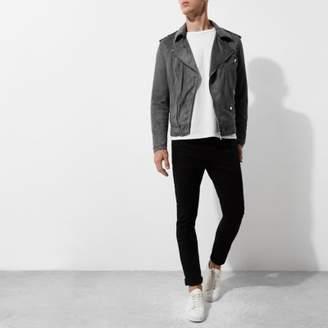 River Island Grey faux suede biker jacket