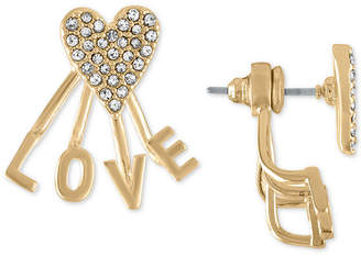 Rachel Roy Gold-Tone Pave Heart Love Front-and-Back Earrings