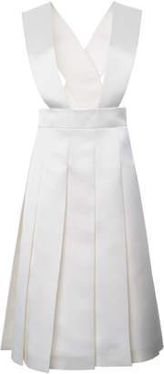 Miu Miu Cutout Pleated Crepe Knee-Length Dress Size: 36