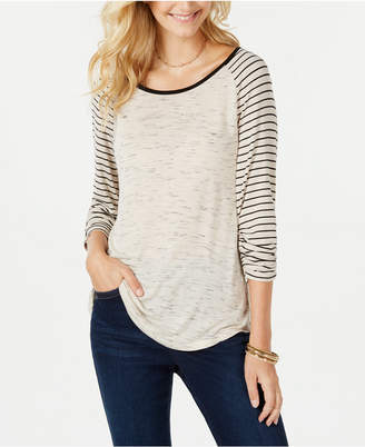 Style&Co. Style & Co Striped Baseball T-Shirt, Created for Macy's