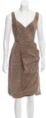 Prada Mock Wrap Leopard Print Dress