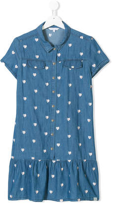 Little Marc Jacobs TEEN heart embroidered denim dress