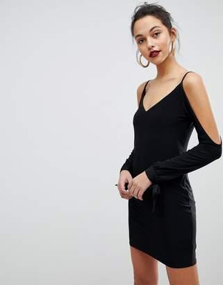 Club L Slip Mini Dresses with Split Sleeve Arm