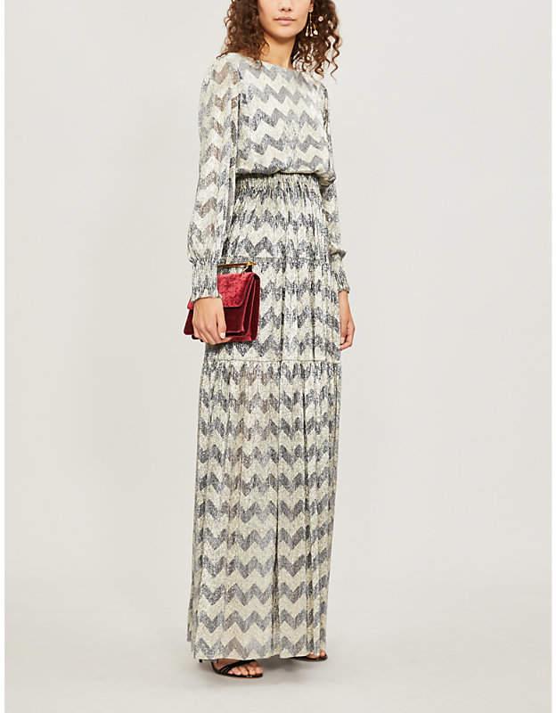 Grace zigzag metallic maxi dress