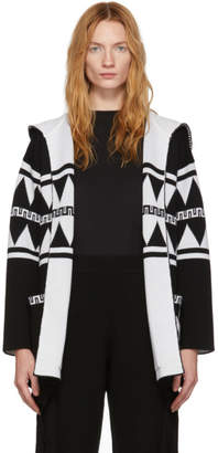 Alanui Reversible Black and White Wool Crazy Monkey Hooded Cardigan