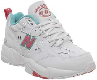 New Balance 608 Trainers White Pink Green