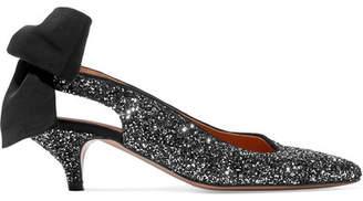 Ganni Salma Glittered Leather Slingback Pumps - Silver