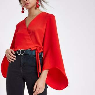 River Island Red wrap long flare sleeve crop top