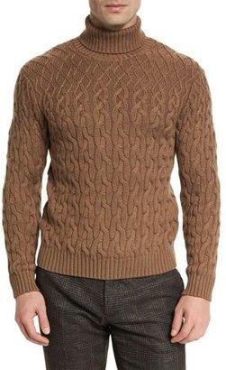 Etro Cable-Knit Turtleneck Sweater, Camel $660 thestylecure.com