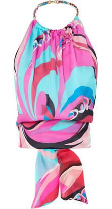 Emilio Pucci Parrots Chain-embellished Printed Silk-georgette Halterneck Top - Pink