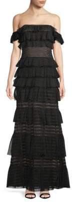 BCBGMAXAZRIA Mesh Stripe Evening Gown