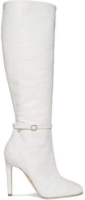 Malone Souliers Roksanda Rhonda 100 Croc-effect Leather Knee Boots - White