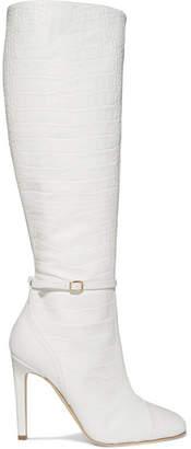 Malone Souliers by Roy Luwolt - Roksanda Rhonda 100 Croc-effect Leather Knee Boots - White