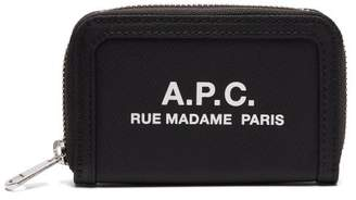 A.P.C. Logo Printed Zip Around Wallet - Mens - Black