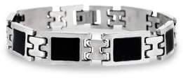 Lord & Taylor Stainless Steel & Black Resin Link Bracelet