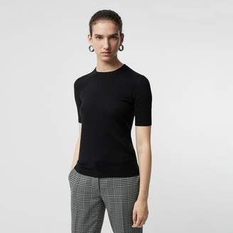 Burberry Short-sleeve Rib Knit Cashmere Sweater