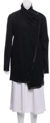 Helmut Lang Wool Leather-Trimmed Cardigan