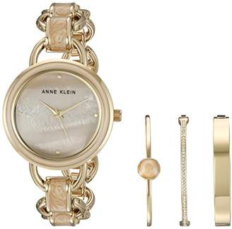 Anne Klein Women's AK/2750LPST Gold-Tone and Tan Marbleized Open Link Bracelet Watch and Bangle Set