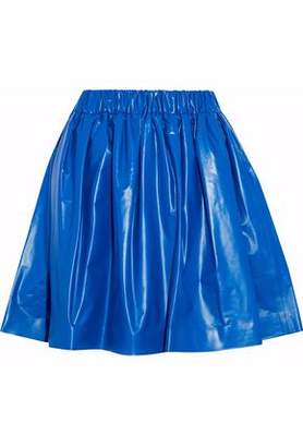 MSGM Pleated Coated Jersey Mini Skirt
