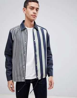 Rains coach jacket in navy stripe