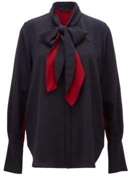 BOSS Hugo Blouse in pure silk bow-tie collar 2 Open Blue