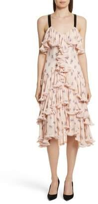 Cinq à Sept Edie Floral Print Tiered Silk Dress