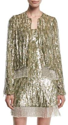 Alexis Ingram Sequined Fringe Metallic Jacket