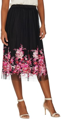 Du Jour Pull-On Floral Embroidered Mesh Midi Skirt