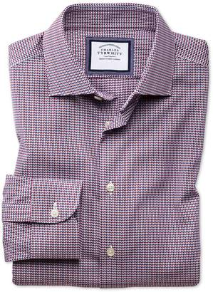 Charles Tyrwhitt Classic Fit Semi-Spread Collar Business Casual Non-Iron Red Multi Dogtooth Cotton Dress Shirt Single Cuff Size 17.5/35