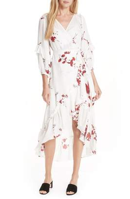 Joie Anawrette Floral Silk Wrap Dress