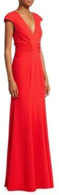 Halston Ruched Evening Gown