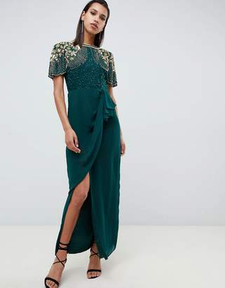 Virgos Lounge ariann embellished maxi dress with frill wrap skirt in emerald green