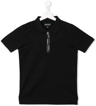 Emporio Armani Kids logo zip polo shirt