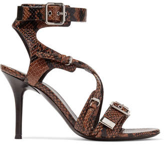 Chloé Scottie Snake-effect Leather Sandals - Snake print
