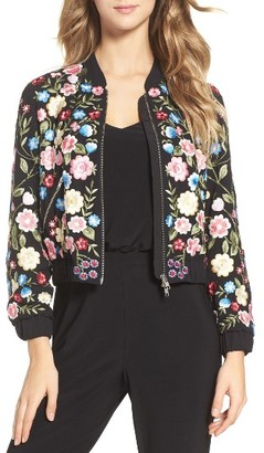 Women's Needle & Thread Flower Foliage Embroidered Bomber Jacket $459 thestylecure.com