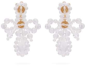 Simone Rocha Cross Crystal Drop Earrings - Womens - Clear