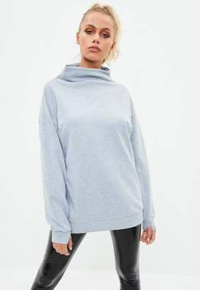 Missguided Active Gray High Neck Thumb Hole Sweat