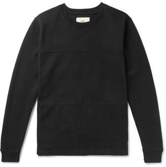 Folk Sigma Panelled Twill and Loopback Cotton-Jersey Sweatshirt - Men - Black
