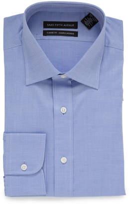 Saks Fifth Avenue CLASSIC FIT セミワイドカラー 長袖シャツ ブルー 16.5/34