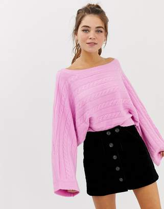 Asos Design DESIGN cropped horizontal cable knit sweater
