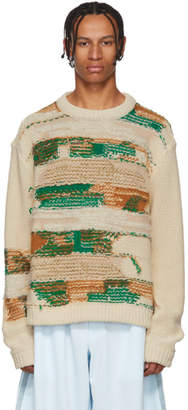Acne Studios White and Green Irregular Striped Crewneck Sweater