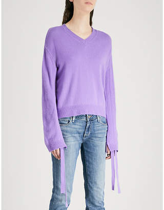 Mo&Co. Drawstring-sleeve wool jumper