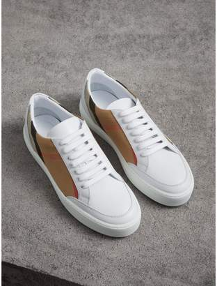 Burberry Check Detail Leather Trainers