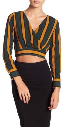 FAVLUX Surplice Neck Long Sleeve Stripe Print Crop Top
