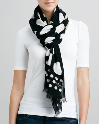 Kate Spade Dotted Fringe Viscose Scarf, Black