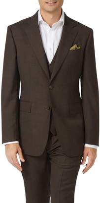 Charles Tyrwhitt Chocolate Slim Fit Sharkskin Travel Suit Wool Jacket Size 38