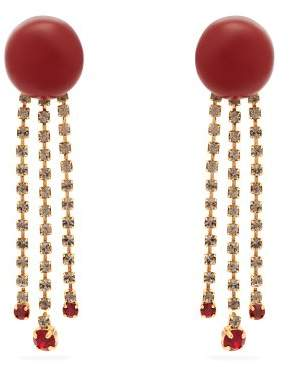 Marni Crystal Embellished Resin Earrings - Womens - Red